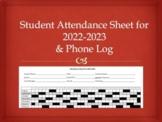 Student Attendance Sheet 2018-2019 & Phone Log for Speech, OT, PT or Classroom