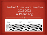 Student Attendance Sheet 2017-2018 & Phone Log for Speech,