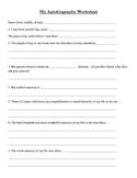 Student Autobiography Worksheet
