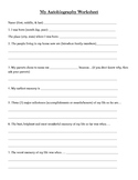 Student Autobiography Worksheet
