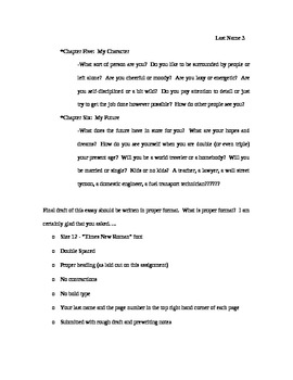 Student Autobiography Writing Assignment