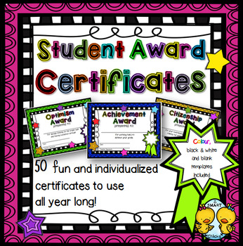 Student Award Certificates #2 (Editable) by 2 SMART Chicks | TpT