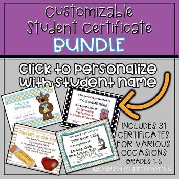 Student Award Certificates BUNDLE - Editable and Printable