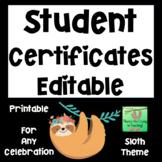 Sloth Editable Award Certificates