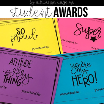 Student Award Certificates for the End of the Year