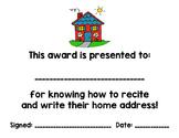 Student Award - I Know My Home Address!