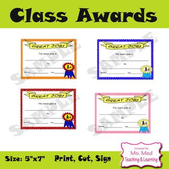 Student Awards Back to School Great Job Digital File Instant Download SET of 8