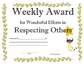 Student Awards and Recognition, Weekly Awards