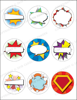 Student Badges - Super Hero - Editable and Pre-filled