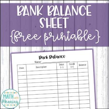 Student Bank Balance Sheet - Great for Classroom Economy