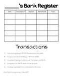 Student Bank Register Activity