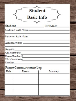 Student Basic Information - Health - Bahavior - Academic Notes - Parent Info