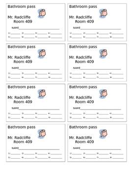 Student Bathroom Hall Passes
