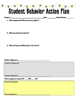 Student Behavior Action Plan