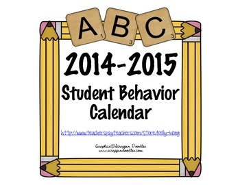 Student Behavior Calendar August 2014 - July 2015