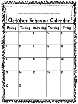 Student Behavior Calendar (Dr. Seuss Font)