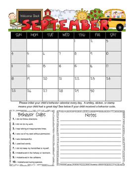 Student Behavior Calendar (Vertical) August 2016 - July 2017