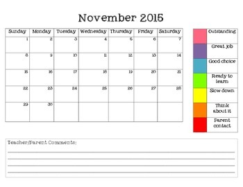 Student Behavior Calendars 2015-2016