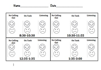 Student Behavior Chart