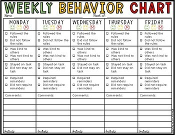 Weekly behavior charts and tally sheets for children by teaching