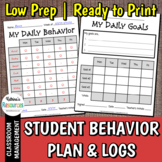 Student Behavior Plan with Log, Charts, and Goal Reflection Pages