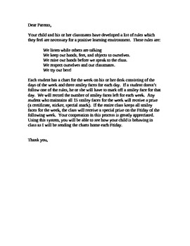 Student Behavior Chart and Letter to Parents