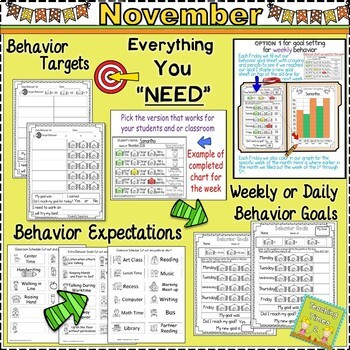 Student Behavior Charts and Graphing Data Tracking- NOVEMBER