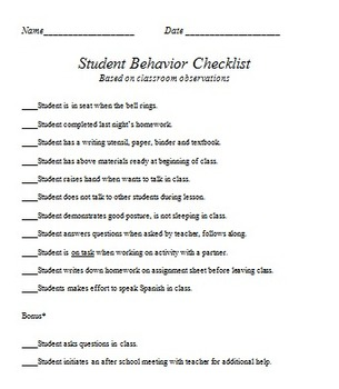 Student Behavior Checklist
