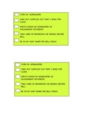 Student Behavior Checklist for Desk- MS