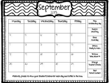 Student Behavior Clip Chart Calendar 17-18