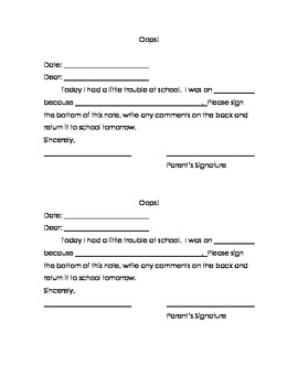 Student Behavior Communication Note