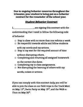 Student Behavior Contract