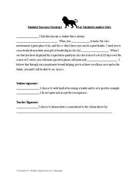 Student Behavior Contract - Student success strategy