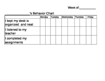 Student Behavior Daily Contract Editable