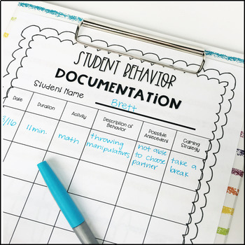 Student Behavior Documentation Form