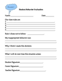 Student Behavior Evaluation/Student Reflection - Classroom