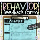 Student Behavior Feedback & Documentation Form