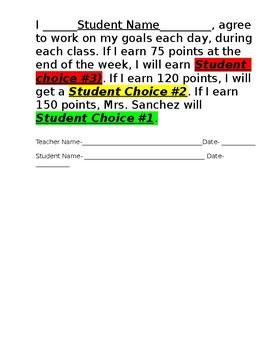 Student Behavior Incentive Chart- Editable!