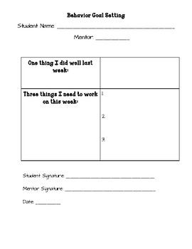 Student Behavior Intervention Folder