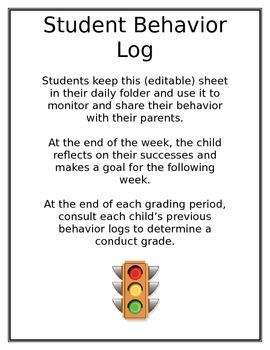 (Editable) Student Behavior Log