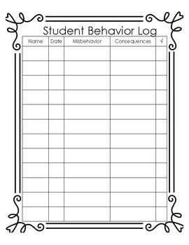 Student Behavior Log