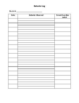 Student Behavior Log Documentation