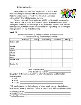 Student Behavior Log-Motivate and Involve Student, Teacher, and Parent!