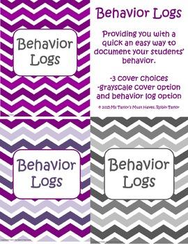 Student Behavior Log Shades of Purple