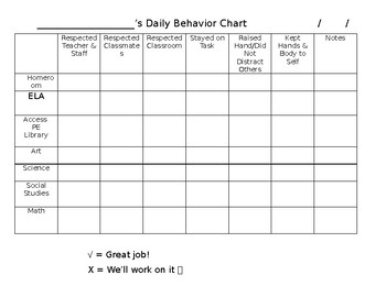Student Behavior Management Chart