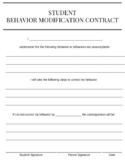 Student Behavior Modification Contract