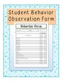 Behavior Observation Form