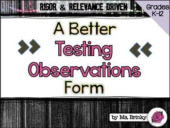 Student Behavior Observations During Testing
