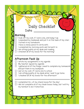 Student Behavior: On-Task Checklist (Daily)