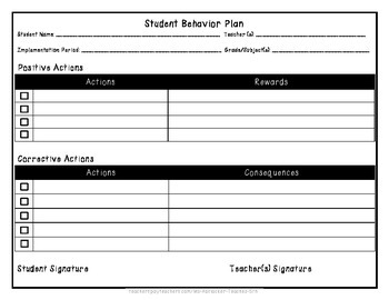 Student Behavior Plan (Actions/Rewards and Actions/Consequences Format)